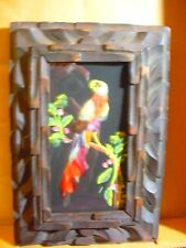1940's Framed Feather Bird Picture - Made of Real Feathers in Carved Wood Frame