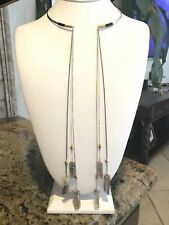 Panacea Open-Front Collar Necklace w/ Long Chain & Crystal Drops