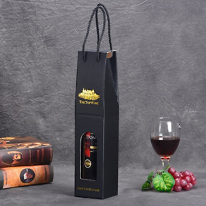 100x Single Bottle Bag Christmas Wine Present Hot Stamping Decorative Paper Bag