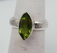 Beautiful 925 Sterling Silver Ring w/ Faux Green Peridot Gemstone ~ Size 6 1/4