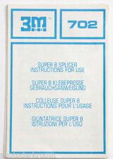 3M 702 Super 8 Splicer Manual Instruction Sheet - English De Fr It - USED B95