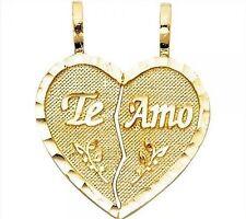 Te Amo 14k Yellow Gold Heart I love you Two Piece Breakable Pendant Set Charm
