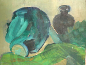 Vintage expressionist still life with jugs oil painting