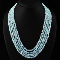 RARE 375.20 CTS NATURAL 5 STRAND RICH BLUE AQUAMARINE FACETED BEADS NECKLACE