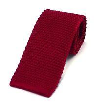 Men's plain soie rouge tricoté cravate (N997/14)