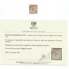 1853. Sardegna II emissione c.40 rosa usato a Cagliari. Perfetto. Cert. FERRARIO