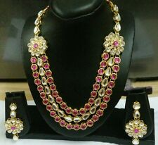 SOUTH INDIAN GOLD PLATED  DIAMOND & KUNDAN NECKLACE EARINGS TEMPLE JEWELLERY SET