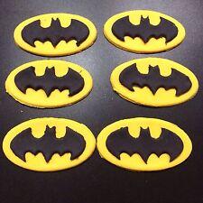 Edible Batman Logo Cup Cake Toppers X 6