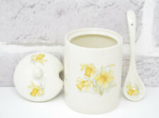 Daffodil Jam Pot Jar 9607 Ceramic Sugar Serving Bowl Preserves Matching Spoon