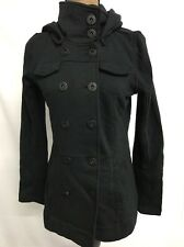 HURLEY WOMEN'S WINCHESTER FLEECE DOUBLE BREASTED JACKET HOODED BLACK X SMALL $56