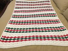 Handmade Afghan / Throw Blanket - Designer Collection - Rust & Green Stripes
