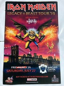 Iron Maiden Legacy of Beast 2019 Tour Poster Barclays Brooklyn 24x36 RARE promo