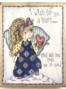 ANGEL I wish for you a heart filled with love  large rubber stamp Stamps Happen