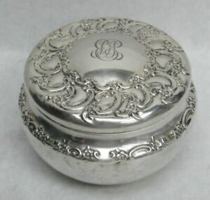 VINTAGE TIFFANY & CO (1896) STERLING SILVER REPOUSSE POWDER JAR & PUFF
