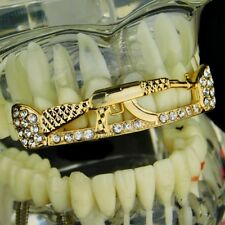 14k Gold Plated AK-47 Rifle Gun Shape Iced-Out Top Row Teeth AK47 Hip Hop Grills