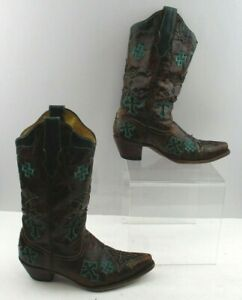 Ladies Corral Brown / Teal Leather Pointed Toe Western Boots Size: 9 M