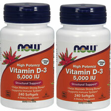 2 x NOW High Potency Vitamin D-3 5000 IU 240 Softgels, Structural Support, FRESH