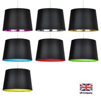 Modern Black Ceiling / Table or Floor Lamp Light Shade Lampshade Coloured Inner