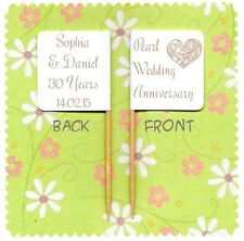 20 PERSONALISED PEARL WEDDING 30TH ANNIVERSARY CUP CAKE FLAG Topper Decoration