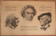 Antique print Liszt, Beethoven, Wagner Franz Hanfstaengl sheet music KIB