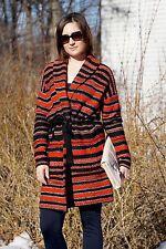 Ralph Lauren Women Red Black Stripes Wool Cardigan Sweater Size Medium