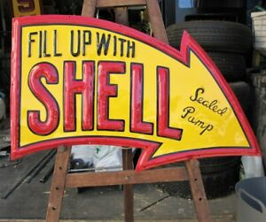 SHELL Embossed, Petrol Station Bowser Garage, Workshop oil SIGN