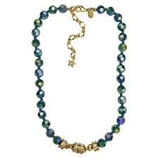 KIRKS FOLLY GODDESS CRYSTAL  2-TONE MAGNETIC  NECKLACE teal / goldtone
