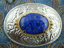 NEW HANDCRAFTED SILVER METAL BELT BUCKLE GENUINE BLUE LAPIS WESTERN COWBOY GOTH