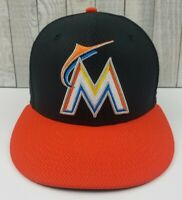 New Era 59Fifty Miami Marlins Authenic MLB Fitted Sz 7-1/8 Black/Orange Hat Cap