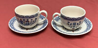(2) JOHNSON BROTHERS STAFFORDSHIRE OLD GRANITE HEARTS & FLOWERS CUP & SAUCER SET