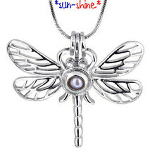 BULK: 5PCS DRAGONFLY Cage Locket Pendant for Bead/Gem/Pearl
