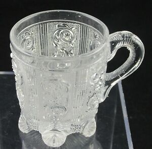 1840S FRENCH LACY FLINT PRESSED GLASS HANDLED MUG OR WHISKEY ST LOUIS BACCARAT