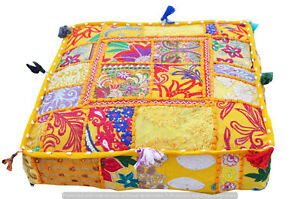 """Indian Cotton Yellow Vintage Square Ottoman Handmade Pouf Cover Patchwork 16"""""""