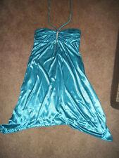 B. DARLIN Turquoise Evening Prom Dress Asymmetrical Hem GLITTER JEWELED 9/10