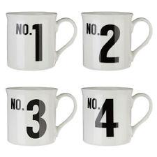Set of 4 Coffee Mugs White Bone China Porcelain Home Office Tea Cups
