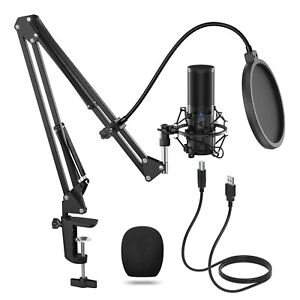 TONOR Q9 USB Condenser Microphone kit boom shock mount pop filter game PC media