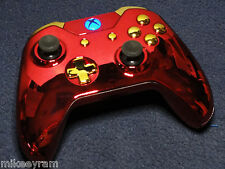 """Iron Man"" Chrome RED/Chrome Gold Xbox One, Modded Controller Blue LED"
