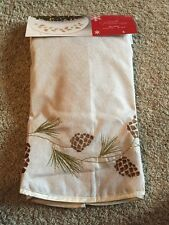 "NEW Jaclyn Smith 48"" Cream Burlap w/ Pine Cones Sparkly Christmas Tree Skirt"