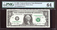 2003 $1 Federal Reserve Note with Fancy NEAR SOLID Serial #E88888825I PMG 64