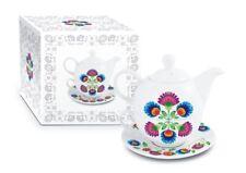 TEAPOT Tea For One Set Porcelain FOLK Design Birthday Gift Present 450ml