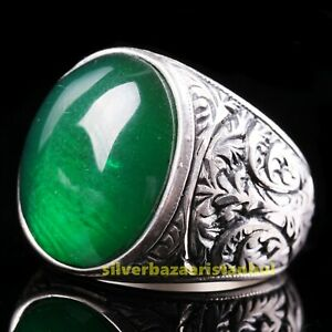 Turkish Handmade 925 Sterling Silver Emerald Green Stone Lux Mens Ring All Size
