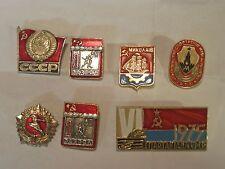 7 x vintage Russian pin lot 1970's sport sports ornate metal Russia CCCP