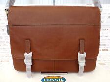 FOSSIL Slim Messenger Bag DEPENDER Cognac Leather Satchel Shoulder Bags RRP£249
