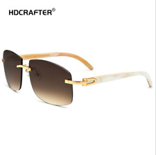 Luxury Natural Buffalo Horn Men Women Rimless Sunglasses Outdoor Glasses New