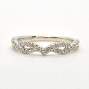 Ladies 14k White Gold 1/3Ctw Diamond Curved Chevron Enhancer Band Wedding Ring
