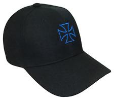 Maltese Cross Choppers Theme Adjustable Baseball Cap Caps Hat Hats Black & Blue