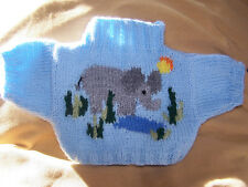 BN HAND KNITTED  JUMPER WITH ELEPHANT IN JUNGLE TO FIT BUILD A BEAR