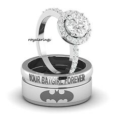 Batman Inspired Round Diamond His Her Engagement Ring Band Set 3 Pcs 925 Silver