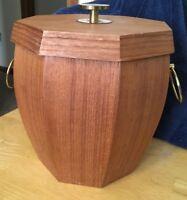 Vtg Mid Century Ice Bucket Wood Brass Danish Modern