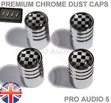 Chequered Flag Chrome Valve Dust Caps Gift Box VW Audi Ford TVR Car Van Truck UK